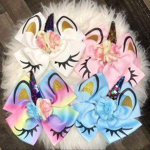 "Set of 4 Big 6"" Rainbow Unicorn Sequin Hair Bows"